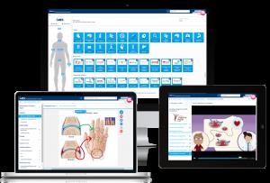 iMD Health Patient Engagement Platform displayed on a desktop computer, laptop and tablet