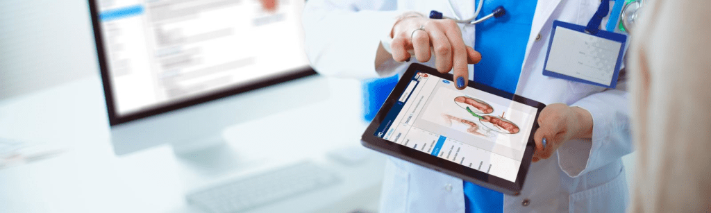 iMD Health Patient Engagement Platform on a tablet being used by a doctor during a patient education consultation